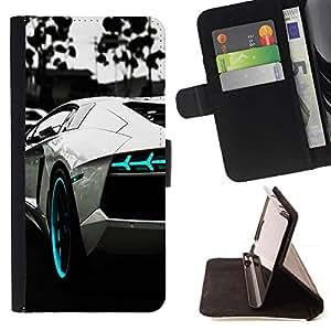 Momo Phone Case / Flip Funda de Cuero Case Cover - B & W AZUL AVENTADOR - Samsung Galaxy Note 3 III