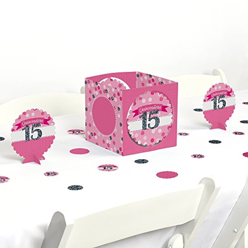 Big Dot of Happiness Quinceanera Pink - Sweet 15 - Birthday Party Centerpiece & Table Decoration Kit