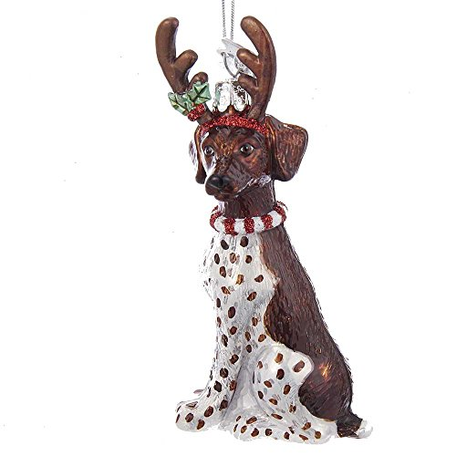 Kurt S. Adler Noble Gems German Short Haired Pointer with Antlers Glass Ornament