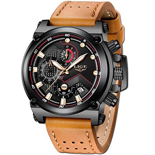 LIGE Men's Fashion Sport Quartz Watch with Brown Leather Strap Chronograph Waterproof Auto Date Analog Black Men Wrist Watches