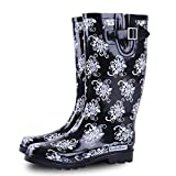 KushyShoo Women Mid Calf Garden Black Rain Boots with Printed Rose