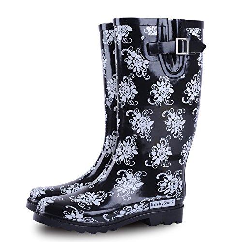 KushyShoo Women Mid Calf Garden Black Rain Boots with Printed Rose by KushyShoo