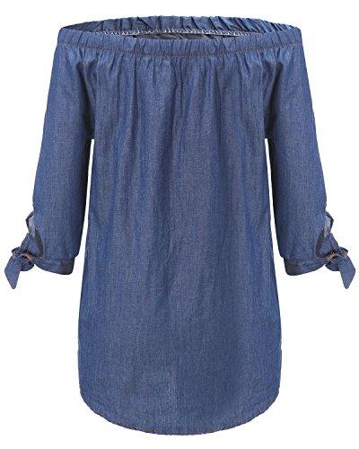 StyleDome Vestido Corto Camisa Maxi Vaquera Mangas Largas Elegante Casual Cuello Barco Mujer Azul Marino