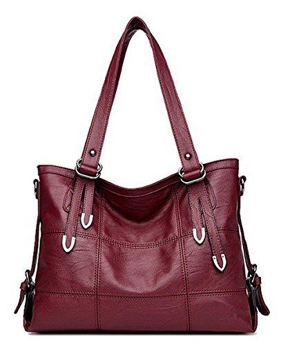 AgooLar Femme Tourisme Fête Sacs fourre-tout Zippers Sacs à bandoulière, GMBBB181621, Noir Rouge Vineux