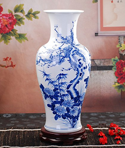 Hand Made and Hand Painted Blue and White Porcelain Vase Home Office Decor Bird and Flower Pattern 10.6