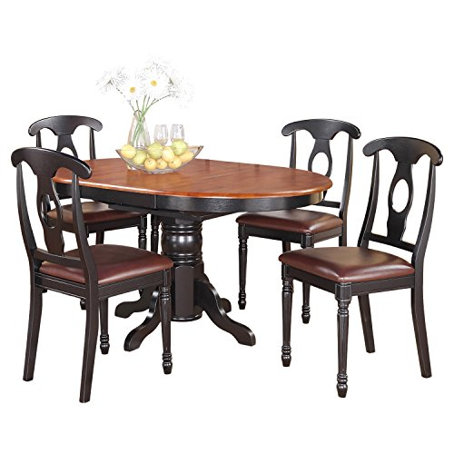 (East West Furniture KENL5-BLK-LC 5-Piece Dining Table Set)
