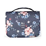Ac.y.c Hanging Toiletry Bag- Travel Organizer Cosmetic Make up Bag case for Women Men Shaving Kit with Hanging Hook for vacation (Dark Grey Flower)