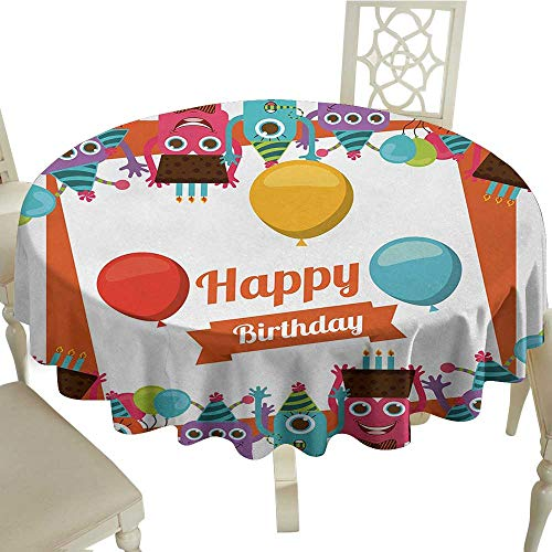 Birthday Easy Care Leakproof and Durable Tablecloth Funny Happy Monsters Holding Chocolate Cakes Party Horns Kids Celebration Design Outdoor Picnic D51.18 Inch - Petty Chocolate