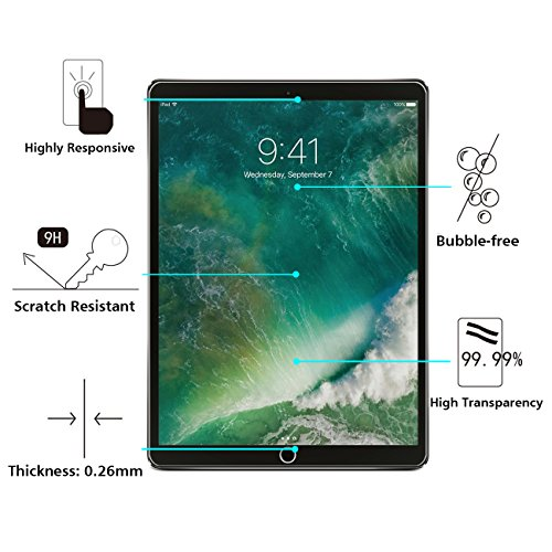 OMOTON New iPad Pro 12.9 Screen Protector, Tempered Glass Screen Protector with [High Responsivity] [High Definiton] [Bubble Free] for Apple iPad Pro 12.9 inch (2017 and 2015 Version) by OMOTON (Image #2)