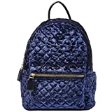 Dream Control Cleo Upscale Quilted Crush Velvet Mid Size Backpack Handbag Navy
