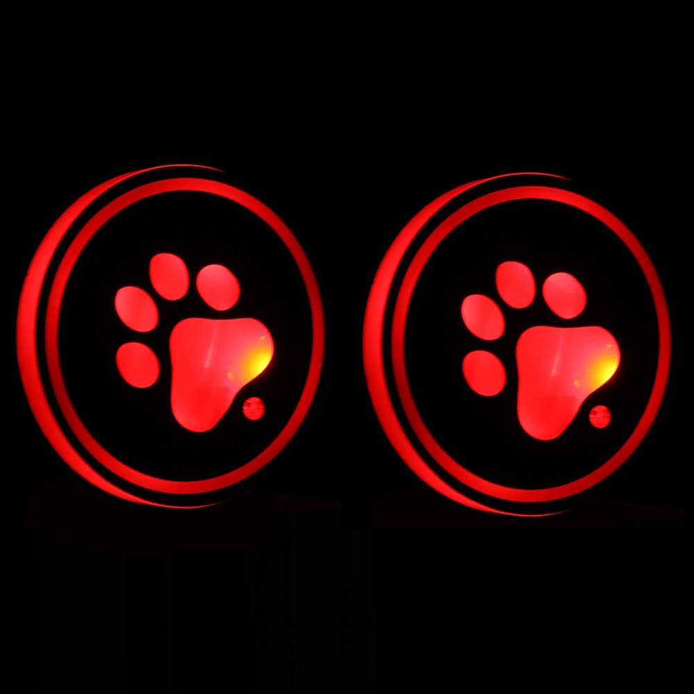 Lipctine Universal LED Car Cup Holder Lights Mats Pad Colorful Paw RGB Drink Coaster Accessories Interior Decoration Atmosphere Compatible for BMW Jeep Benz VW Audi Ford Chevrolet Dodge Honda Toyota