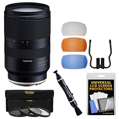 Tamron 28-75mm f/2.8 Di III RXD Zoom Lens with 3 UV/CPL/ND8 Filters + Flash Diffusers + Kit for Sony Alpha FE E-Mount Cameras
