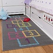 "Ottomanson Children's Garden Collection Educational Hopscotch Design, 2'7"" X 6'0"", Grey"