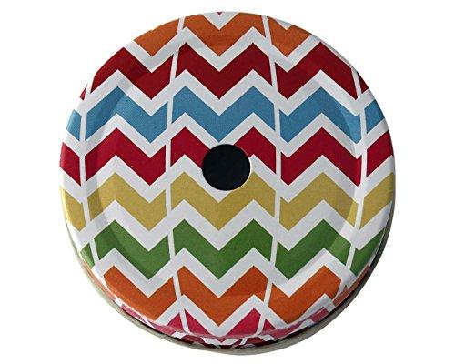 Straw Hole Tumbler Lids for Regular Mouth Mason, Ball, Canning Jars (5 Pack, Multi Color Chevron) (Chevron Mason Jar Lid)