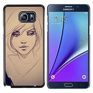 TECHCASE---Cubierta de la caja de protección para la piel dura ** Samsung Galaxy Note 5 ** --sexy chica dibujo boceto ojos del arte del retrato