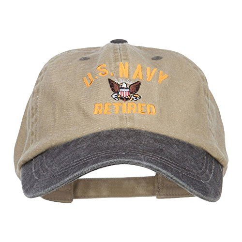 US Navy Retired Military Embroidered Two Tone Cap - Khaki Black OSFM