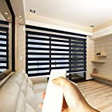 """Godear Design Zebra Design Roller Window Shades, Motorized-Remote, Privacy Horizontal Blinds, 27"""" W x 72"""" H (Charcoal)"""