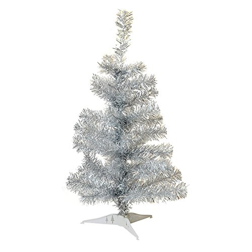 Harbour Housewares 2ft (60cm) Artificial Pine Silver Christmas Tree with Stand