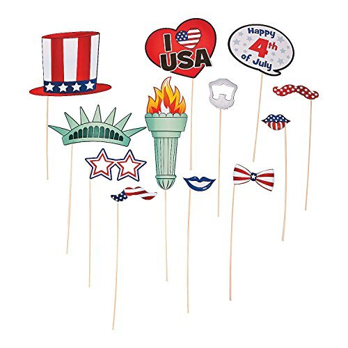 12 Piece Bulk Pack American Patriotic Paper Photo Booth Stick Prop 4th of July Celebration Party Favors Supplies Decoration - Dollar Sunglasses Tree