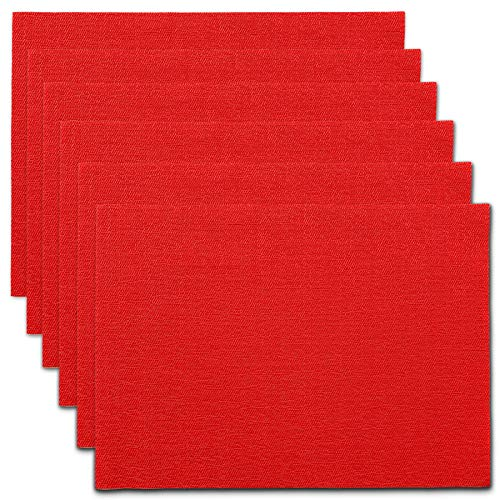 (CAIT CHAPMAN HOME COLLECTION Holiday Woven Texture Design PVC Rectangular Heat Insulation Texteline Placemat (Red), Set of 6)