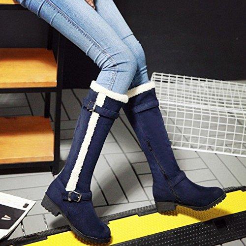 COOLCEPT Women's Fashion Block Low Heel Western Long Boots Blue AtXtK