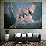 #8: SOURBAN Couple Kiss Abstract Art on Canvas Painting Wall Art Picture For Home Decor