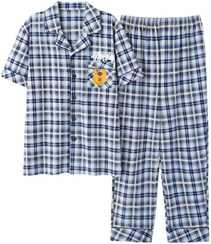 パジャマ メンズ ルームウェア レディース 上下セット 半袖 ロングパンツ 前開き 寝間着 部屋着 綿 便利服 カジュアル 肌触り良い 男の子 ボーイ 大人 ナイトウェア 夏
