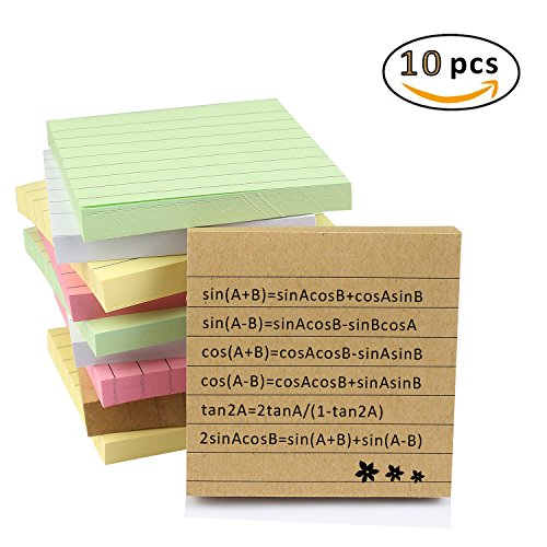 Kereda Narrow Ruled 3 x 3-Inch Writing Pad, 5 Colors Self-Stick Notes Sticky Note (100 sheets per pad, 10 pack) Stick Index Cards