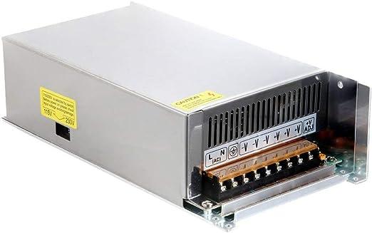 Lanceasy Voltaje Transformador, Interruptor Adaptador Fuente de Alimentación Dc 12V 60A 720W Estuche Metálico Voltaje Transformador para Tira de Luces LED: Amazon.es: Hogar