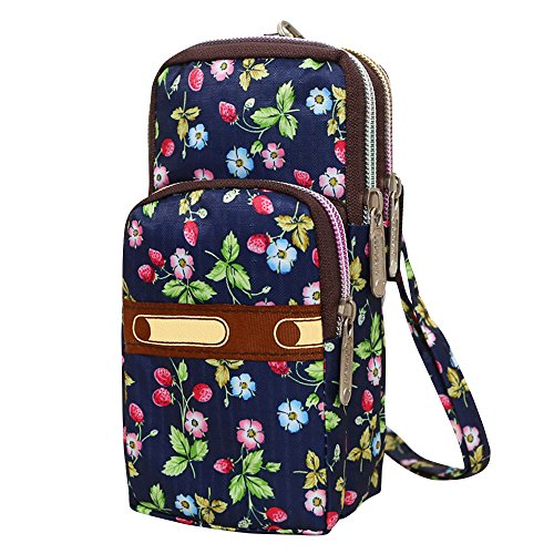 Bags Strawberry Bags Flower Wristlet Water Crossbody Shoulder Womens Small Nylon Wocharm Resistant qvRwnzUx