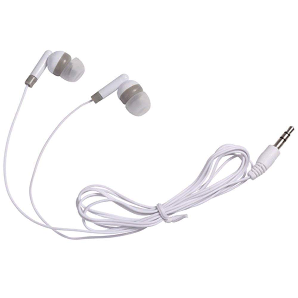 Wholesale Earbuds Bulk Headphones Individually Bagged 50 Pack For Iphone, Android, MP3 Player For Schools, Libraries, Hospitals (White)