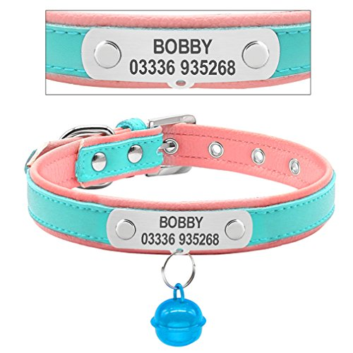 LOVELY Dog Leather Collar Custome Engraved Cat Pet Name ID Collars Small Medium Necklace Blue M