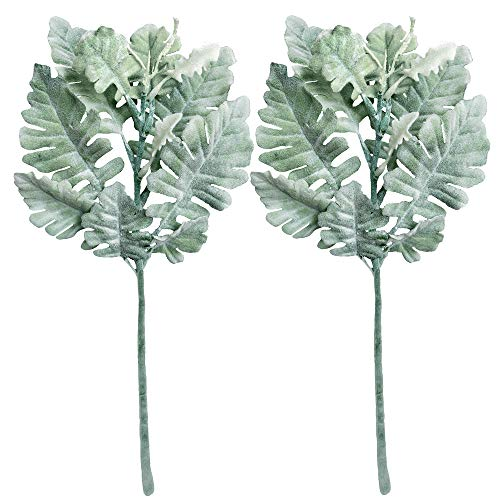 Miller Green - Supla 4 Pcs Artificial Silk Flocked Dusty Miller Flower Spray Dusty Miller Bush in Green Grey 12.6