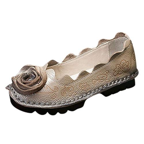 Zapatos Retro Hechos A Mano para Mujer De OHQ Planos con Un Solo Zapato De Cuero Botines: Amazon.es: Zapatos y complementos