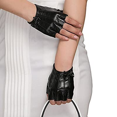 Women Driving Gloves, Magelier Fingerless Genuine Nappa Leather Motorcycle Fashion Gloves