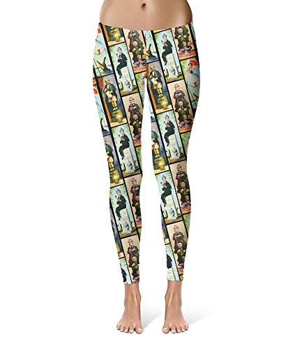 Queen of Cases Haunted Mansion Stretch Paintings Sport Leggings - Full Length, Mid/High Waist Black