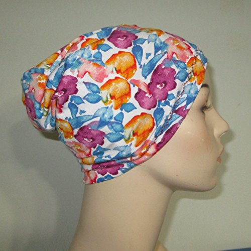 Blue and Magenta Stretch Lycra Lightweight Cap Chemo Hat Alopecia Head Cover Cancer Beanie