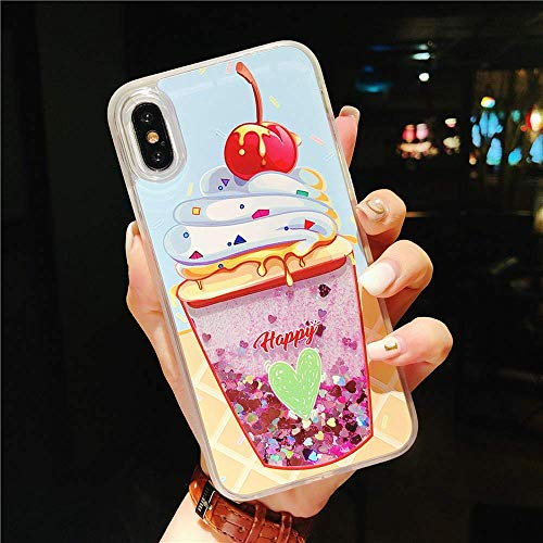 iPhone X XS iPhone 7 8 Plus Case Creative Moving Quicksand Glitter Sequins TPU+PC Hard Case Soft Edge Shockproof Camera Screen Protection (ice Cream, for iPhone 7p/8p)