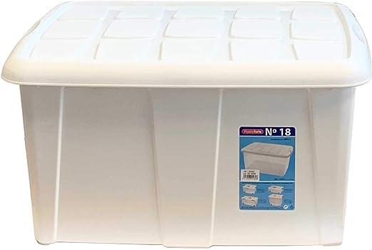 Plastic Forte - Caja de ordenación Blanca n 18 60 litros: Amazon.es: Hogar