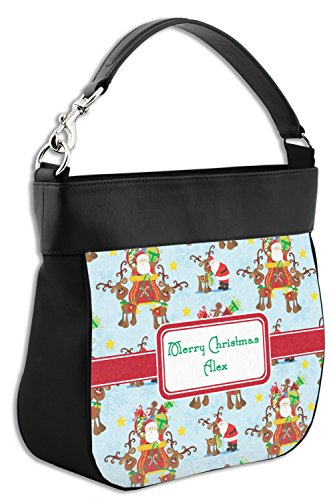 on w Trim Sleigh Santa Front amp; Leather Hobo Back Purse Personalized Genuine wISUdqS