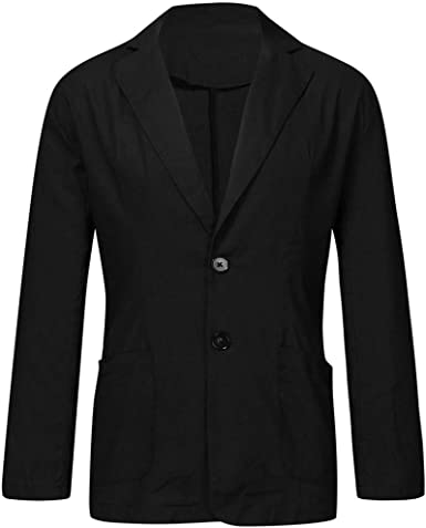 Mens Blazers Mens Slim Fit Cotton Blend Solid Long Sleeve Thin Jacket Outwear