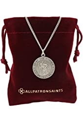 """Saint Christopher Medal Necklace in Solid 925 Sterling Silver """"PROTECT US MEDAL"""" 18.5 MM (.72 inch) With Jewelry Gift Box - Patron Saint of Travelers"""