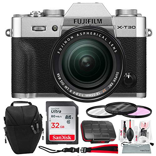 Fujifilm X-T30 4K Wi-Fi Mirrorless Digital Camera with XF 18-55mm Lens Kit - Silver with 32GB Bundle and Travel Photo Cleaning Kit