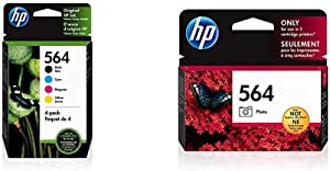 HP 564 | 4 Ink Cartridges | Black, Cyan, Magenta, Yellow | CB316WN, CB318WN, CB319WN, CB320WN, Model:3YQ22AN#140 & 564 | Ink Cartridge | Photo | CB317WN