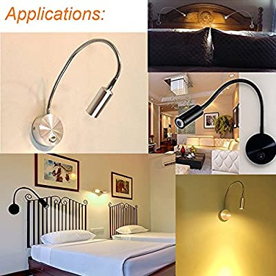 Onerbuy Plug Wired Flexible Gooseneck Wall Sconce Reading Lamp Art Works Show Accent Light Wall Mount Spot Lamp Fixture with On/off Switch