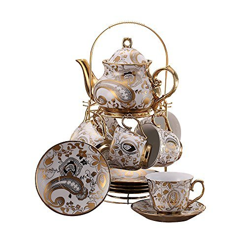 ufengke 13 Piece European Retro Titanium Ceramic Tea Set With Metal Holder, Porcelain Tea Cups Set, For Wedding, Golden Flower Painting