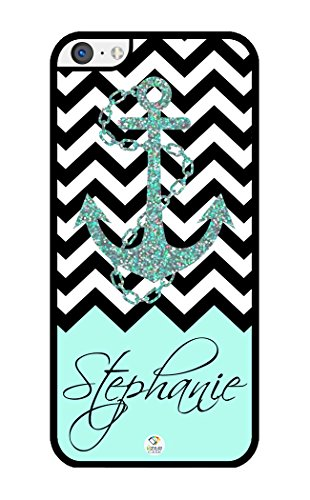 iZERCASE Personalized Black Turquoise and White Chevron Pattern with Anchor RUBBER iPhone 5C case - Fits iPhone 5C T-Mobile, AT&T, Sprint, Verizon and International (Black) (Iphone 5c White Chevron Turquoise)