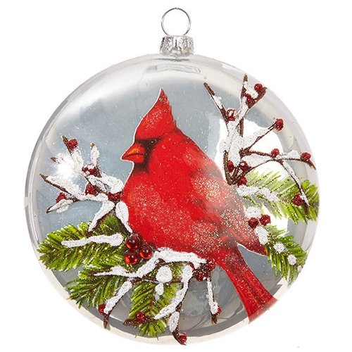 Winter Red Cardinal Bird Christmas Glass Disc Ornament, 5 Inch ()