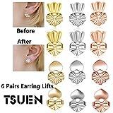 (US) Tsuen Original Magic Earring Lifters, 6 Pairs Magic Backs for Earrings Adjustable Secure Earring Lifts Safety Drooping Earring Backs for Ear Lobe Lifter (2 Silver/ 2 Gold/ 2 Rose Gold)