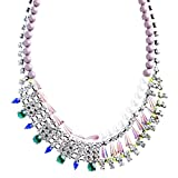 Contrasting Arrangement Crystal Rhinestone Statement Bib Necklace N79 Gray